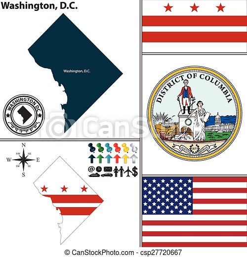 Mapa, c.c, washington, estados unidos de américa. Conjunto, c.c ...