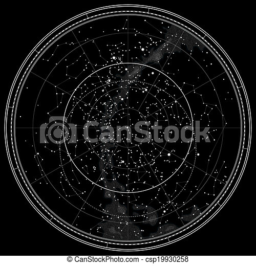 Mapa Estelar Hemisferio Norte.Mapa Celestial Astronomica Del Hemisferio Norte Version De
