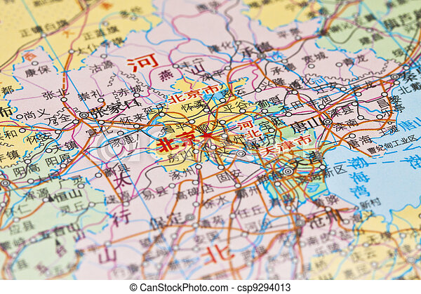 Mapa de beijing, China. - csp9294013