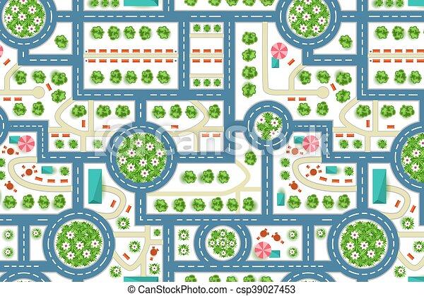Mapa Ciudad Para Niños.Mapa De Una Vista Desde La Ciudad Patron De Caminos Y