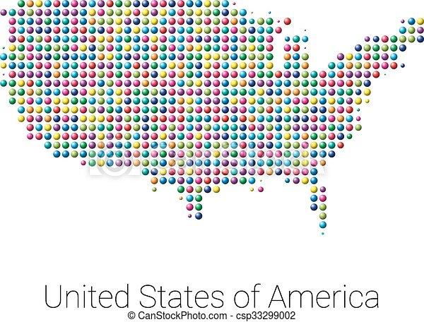 Mapa, coloreado, estados unidos de américa, vector, diseño, punteado ...