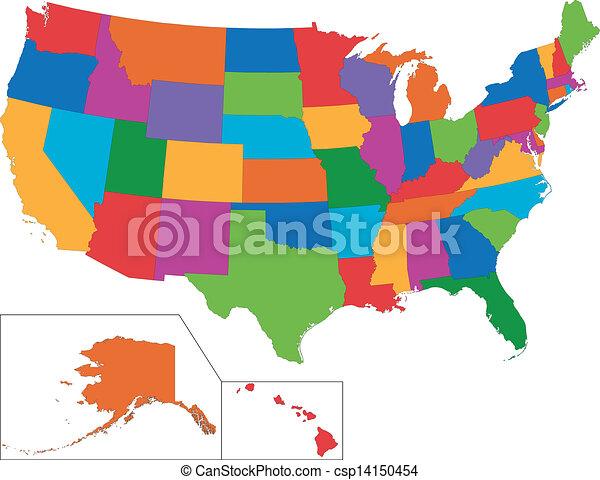 Colorido mapa USA - csp14150454