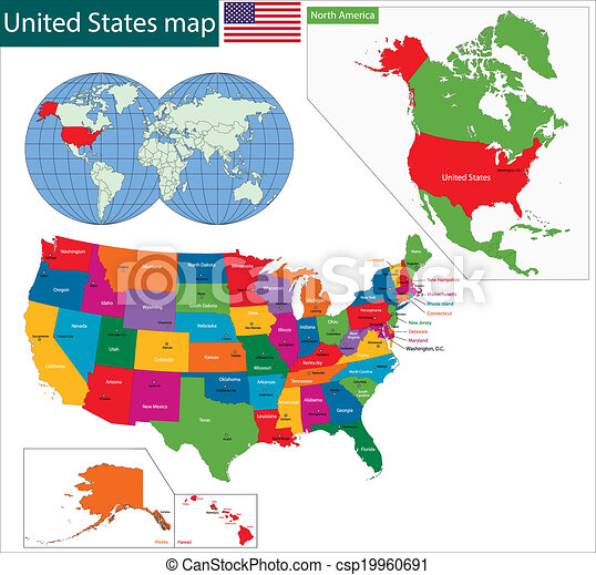 Colorido mapa USA - csp19960691