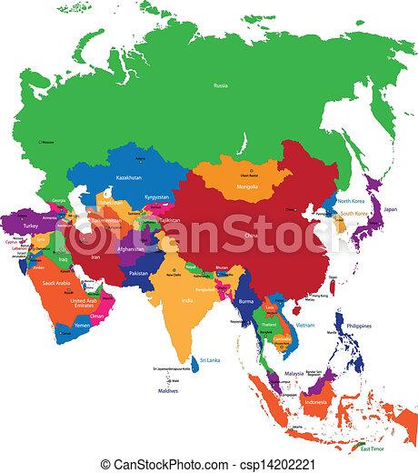 mapa, coloridos, ásia - csp14202221