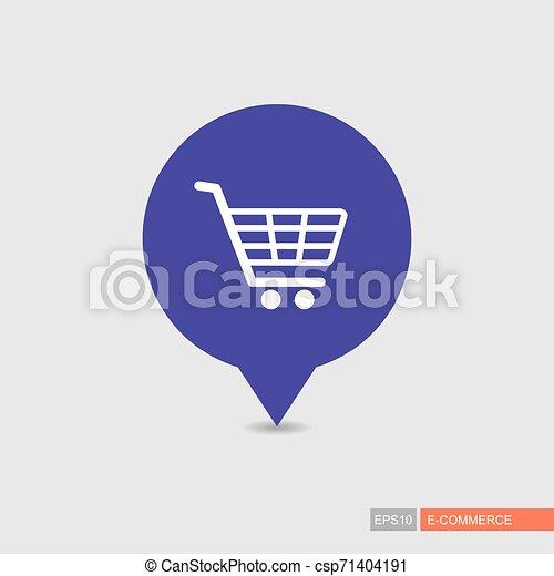 Comprando carro de centro comercial aislado vector pin icono mapa - csp71404191