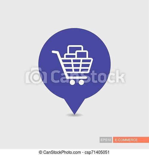 Comprando carro con cajas de icono de mapa - csp71405051