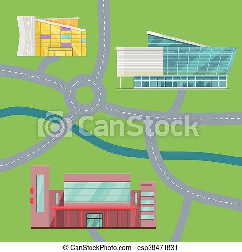 Ilustración de vectores de vector del mapa central. - csp38471831