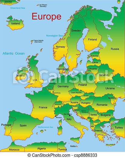 Mapa continente europeu detalhado mapa vetorial vetores mapa continente europeu csp8886333 sciox Image collections