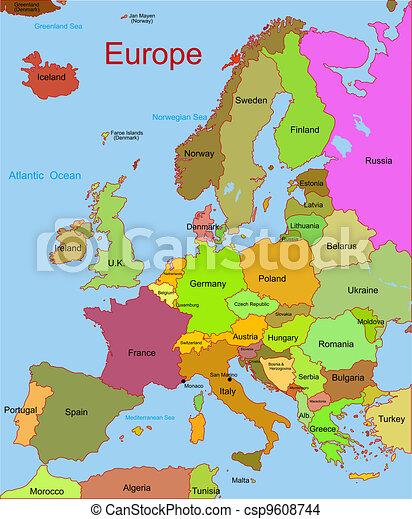 Mapa continente europeu detalhado mapa vetorial eps mapa continente europeu csp9608744 sciox Image collections