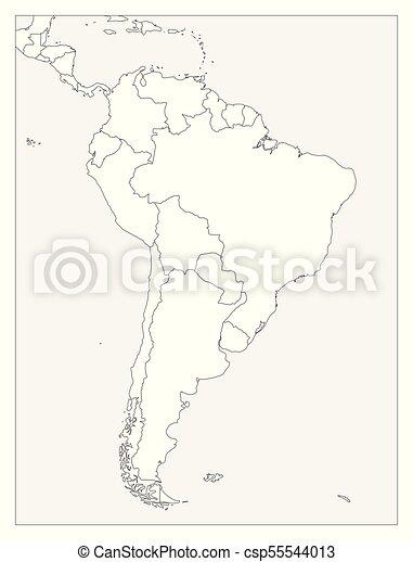 Mapa Politico En Blanco.Mapa Contorno Plano Simple Politico America Vector