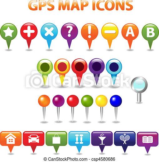 mapa cor, gps, ícones - csp4580686