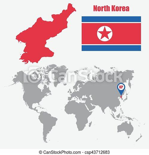 El Mapa De Corea Del Norte En Un Mapa Mundial Con Bandera Y
