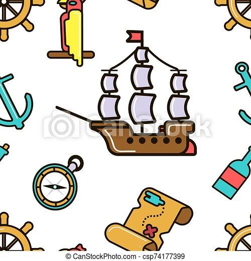 mapa, crianças, tesouro, padrão, aventuroso, pirata, seamless, navio - csp74177399