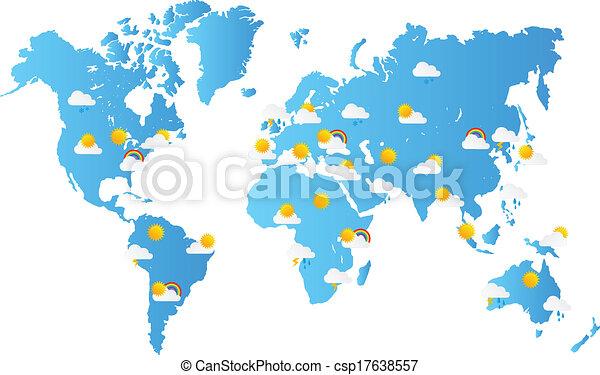 Mapa Del Tiempo En El Mundo.Mapa Del Mundo Pronostico Meteorologico Mapa Vector