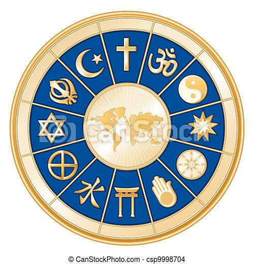 mapa del mundo, religiones - csp9998704