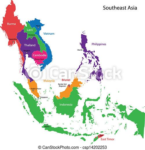 Mapa Asia Sureste - csp14202253