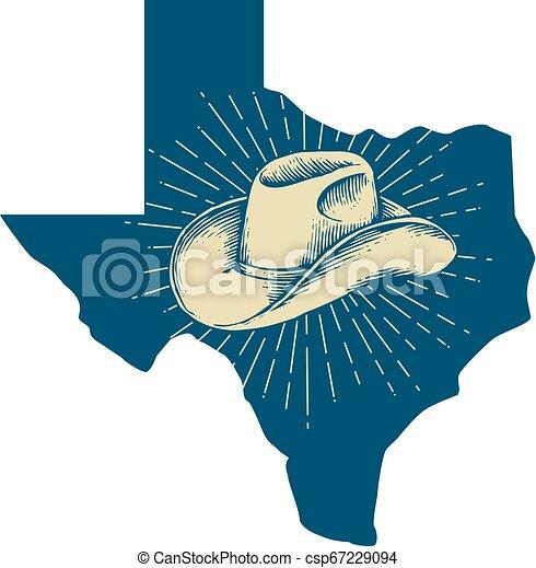 Mapa de Texas y diseño de sombreros de vaquero - csp67229094