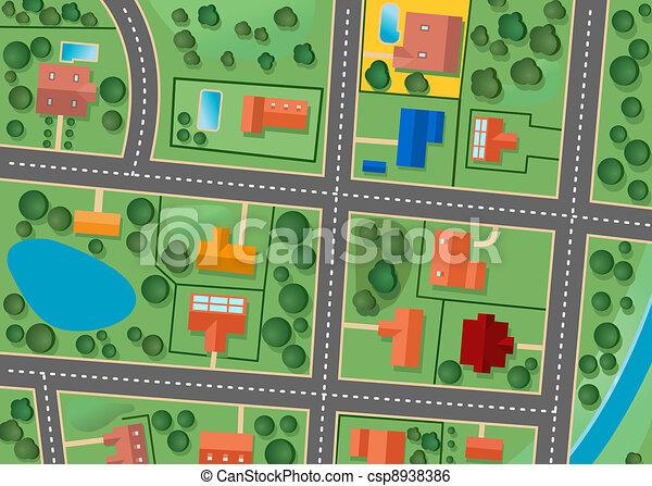Mapa del distrito de los suburbios - csp8938386