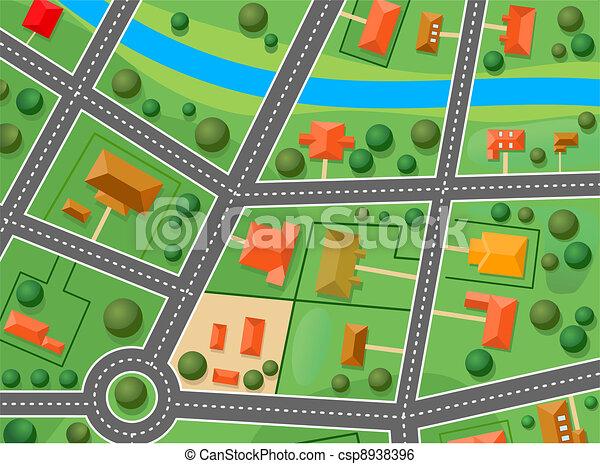 Mapa del distrito de los suburbios - csp8938396