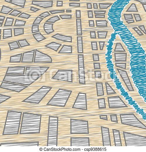 mapa el plano de fondo, ciudad - csp9388615