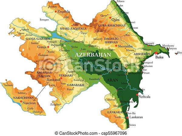 Mapa de socorro Azerbaiyán - csp55967096