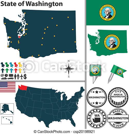 Mapa, estado, washington, estados unidos de américa. Conjunto ...