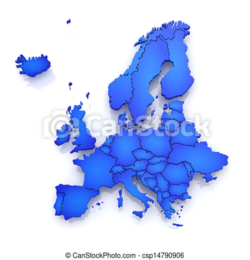 mapa europe tridimensional csp14790906