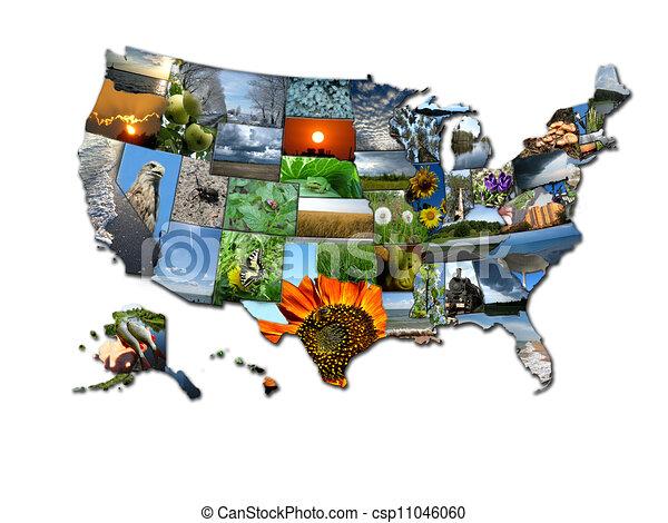 Collage de fotos de un mapa inusual de estados de EE.UU - csp11046060