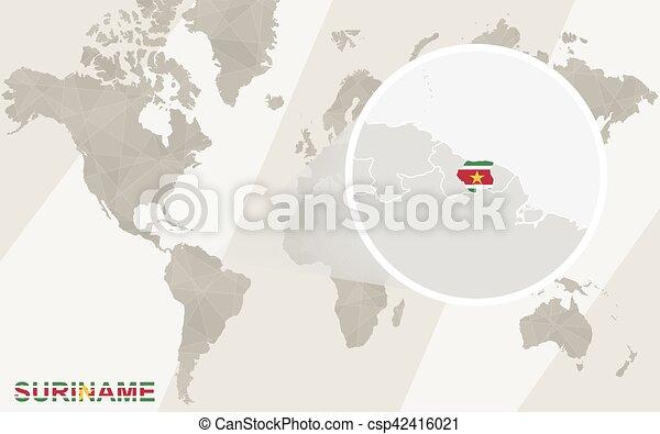 Amplia El Mapa De Suriname Y La Bandera Mapa Mundial