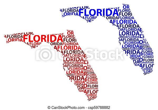 Un Mapa De Florida Sketch Florida Estados Unidos De América El Estado Soleado Mapa De Texto Florida Mapa En La Forma Canstock