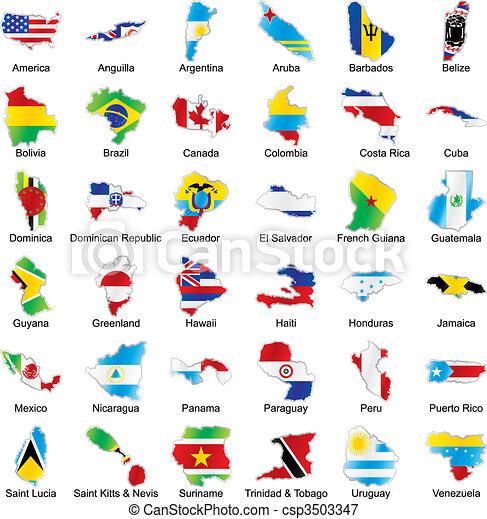 banderas americanas en forma de mapa con detalles - csp3503347