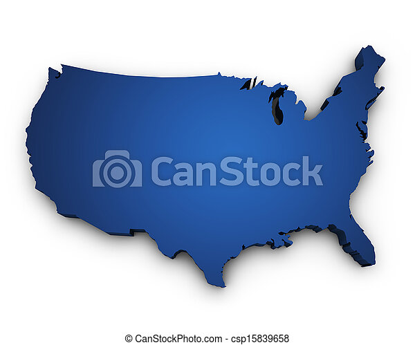 mapa, forma, eua, 3d - csp15839658
