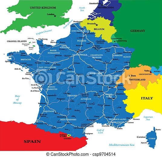 mapa de frança detalhado Mapa, frança. Detalhado, mapa, ser, france.each, região  mapa de frança detalhado