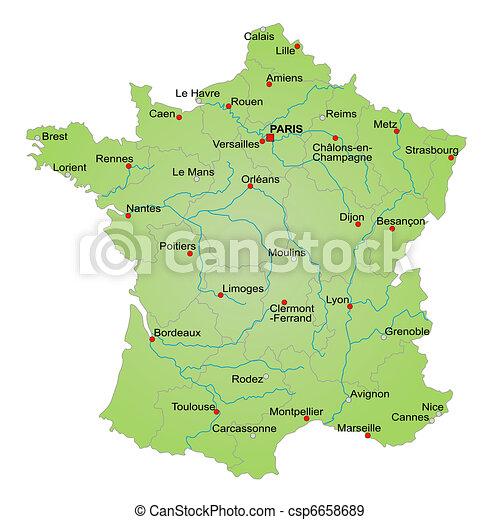 Map France Un Mapa Estilizado De Francia Que Muestra Provincias