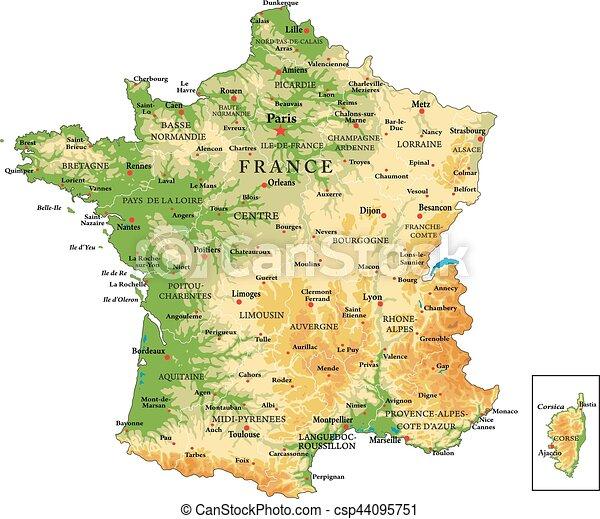 Un mapa físico de Francia - csp44095751
