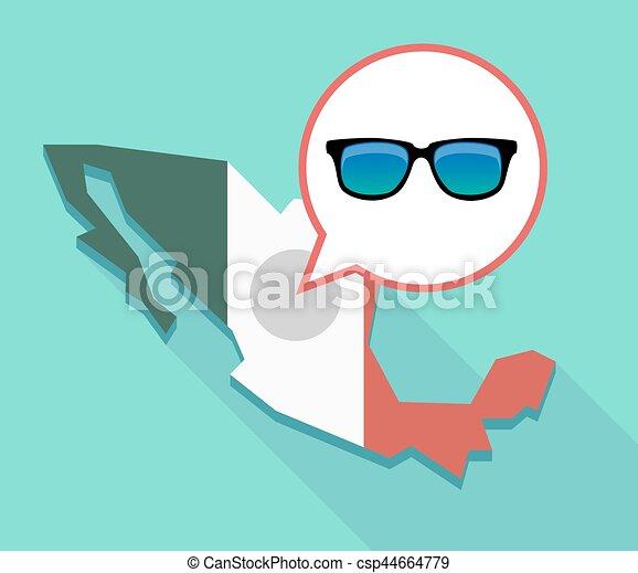 4e2a60ac81 Mapa, gafas de sol, méxico, largo, sombra, icono. Mapa, gafas de sol ...
