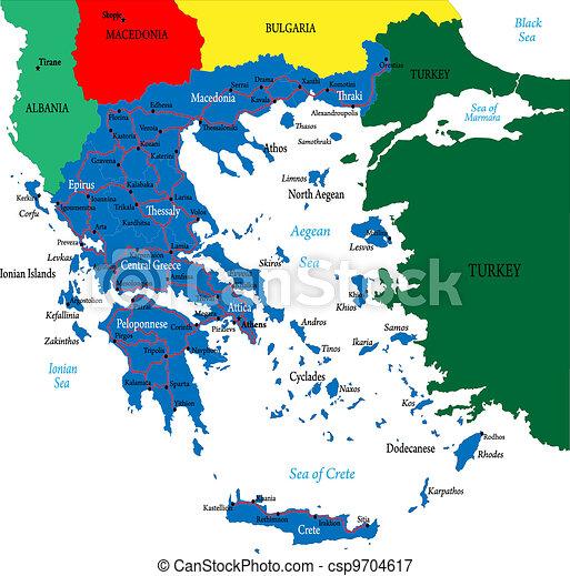 Ilustracin vectorial de mapa grecia  Highly detallado vector