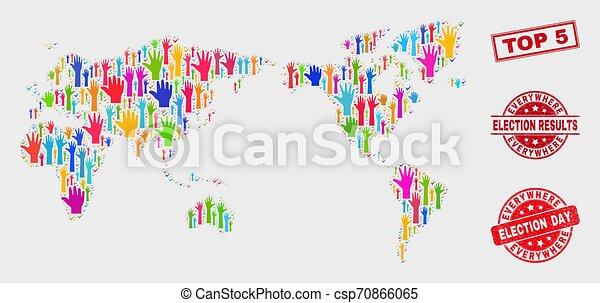 La composición del mapa mundial de las elecciones y el sello grunge top 5 - csp70866065