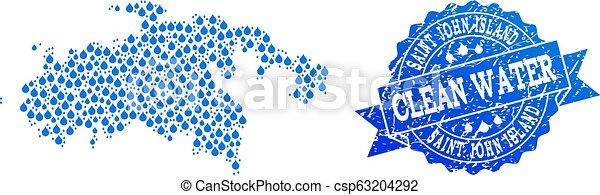 Un mapa mosaico de la isla San Juan con rocío de agua y sello de sello grunge - csp63204292