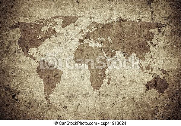 mapa, grunge, mundo - csp41913024