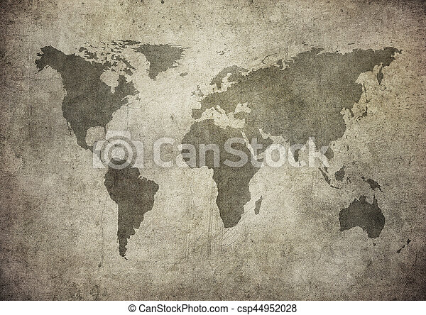 mapa, grunge, mundo - csp44952028