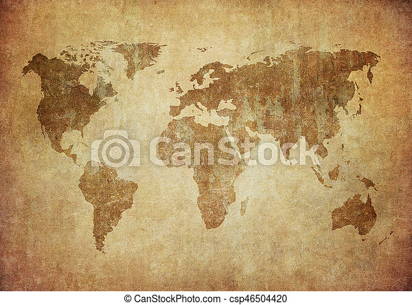 mapa, grunge, mundo - csp46504420