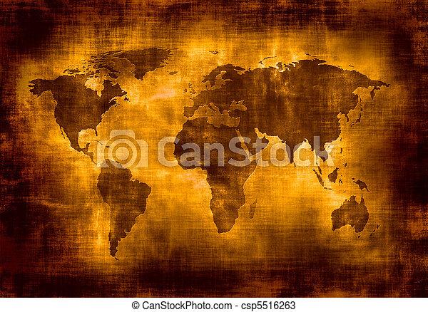 mapa, grunge, mundo - csp5516263