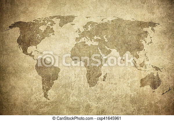 mapa, grunge, mundo - csp41645961