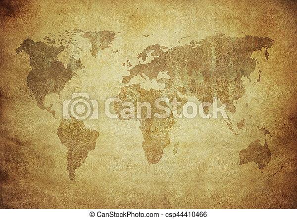 mapa, grunge, mundo - csp44410466