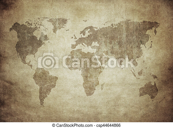 mapa, grunge, mundo - csp44644866