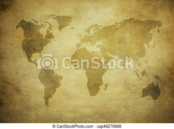 mapa, grunge, mundo - csp46270668