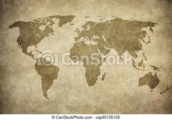 mapa, grunge, mundo - csp40135105