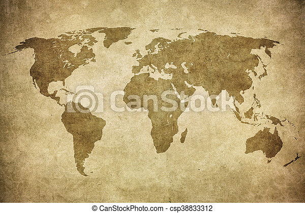 mapa, grunge, mundo - csp38833312
