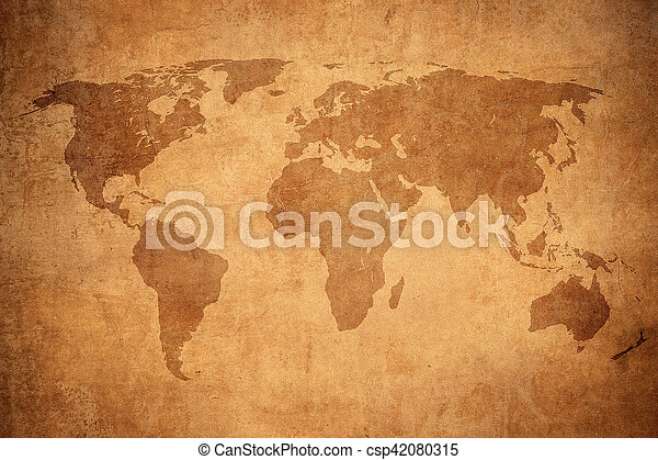 mapa, grunge, mundo - csp42080315
